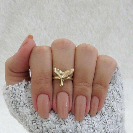 Anel de falange, rabo de baleia, dourado - REF: F015