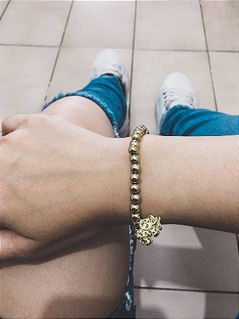 _Pulseira AKIN, elefante, dourada brilho - REF P046