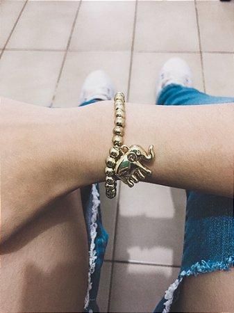 _Pulseira AKIN, elefante, dourada - REF P049