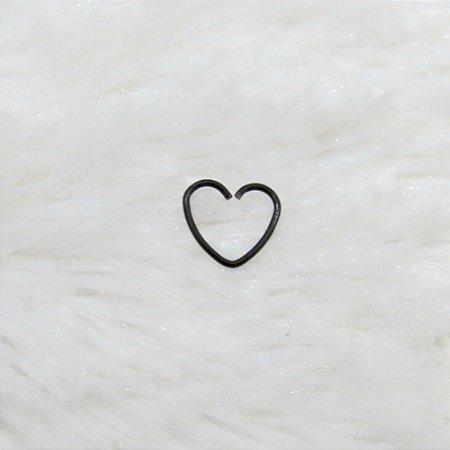 Piercing indiano, coração, preto - F014