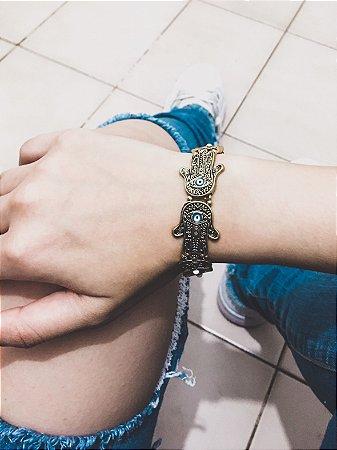 Pulseira mão de fátima, dourada, cores diversas - REF P052
