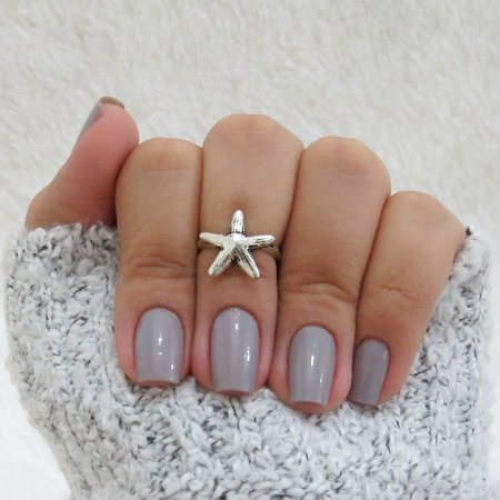 Anel de falange, estrela do mar, prateado - REF: F017