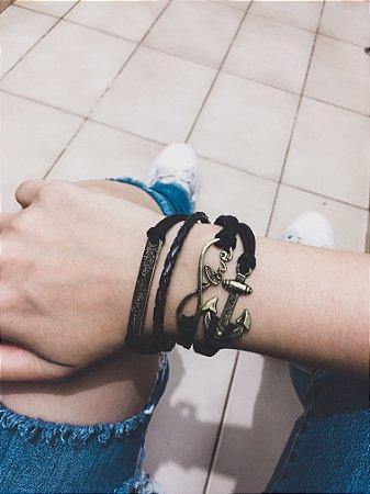 Pulseira belle, infinito, love, ancora, courinho preto, dourada - REF P099