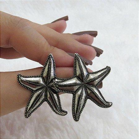 Brinco estrela do mar, prateado envelhecido - REF B012