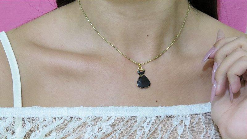 Correntinha vestido de moça preto, dourada