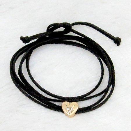 Pulseira courinho, heart, dourada - REF P131