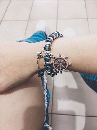 _Pulseira VIBE, preta, azul marinho, leme - REF P151
