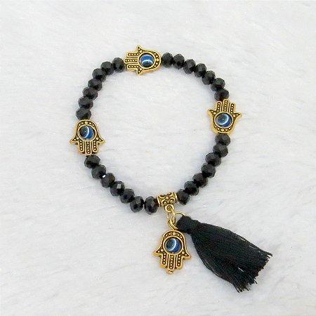 Pulseira sasha, mão de fátima dourada, black - REF P063
