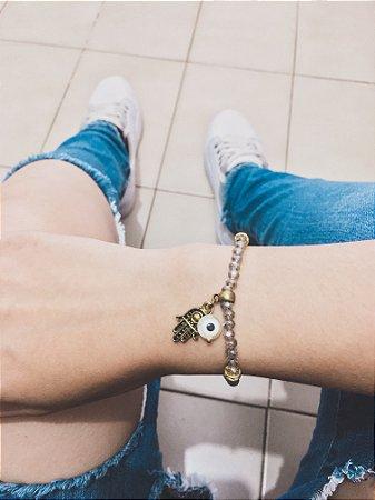 _Pulseira cristal, mão de fátima, dourada - REF P192
