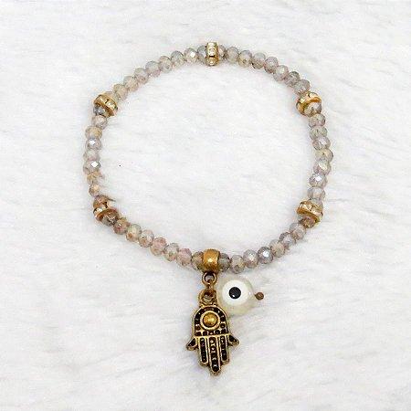 Pulseira cristal, mão de fátima, dourada - REF P073