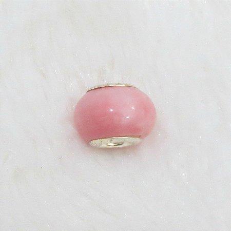 Berloque murano, liso rosa baby, prateado