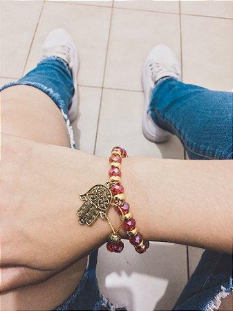 Pulseira VIBE, vermelha, dourada, mão de fátima - REF P238