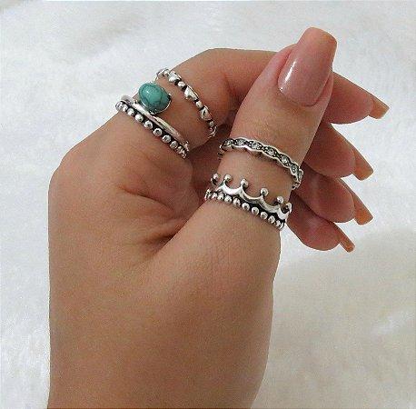 Conjunto de anéis com 4 peças, amor real turquesa, prateado - REF: K013