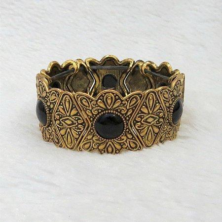 Pulseira elegance, pedra preta, dourada - REF P094