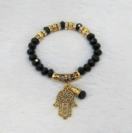 Pulseira wonderful, mão de Fátima, preta, dourada - REF P064