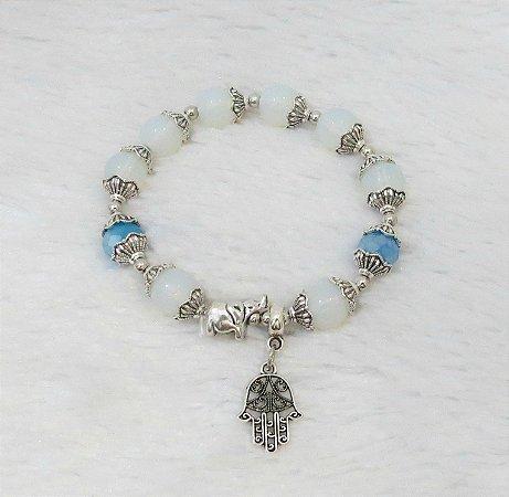 Pulseira wonderful, mão de Fátima, elefante, branca e azul - REF P105