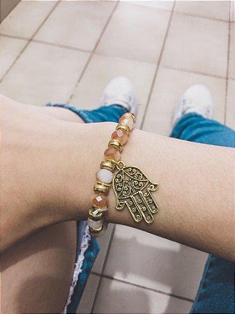 Pulseira wonderful, camaleoa, mão de Fátima, dourada - REF P323