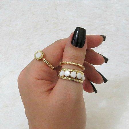 Conjunto de anéis com 3 peças, real, dourado - REF: K015