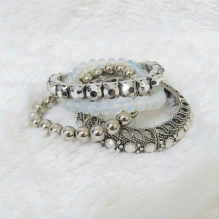 Conjunto de pulseiras freedom, 4 peças, branco leitoso  - REF P127