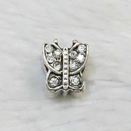 Berloque passante, borboleta, pedra incolor, prateado