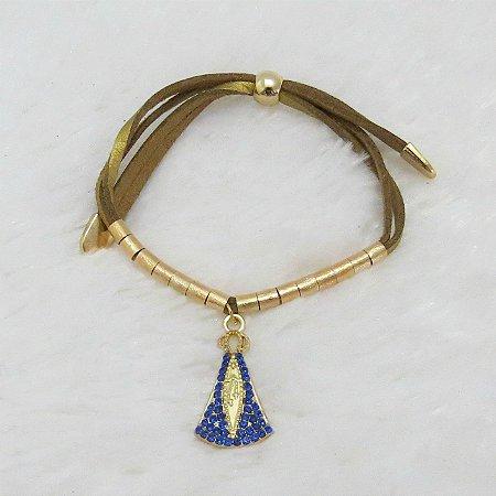 Pulseira santa fé, nossa senhora c/ pedraria azul royal, dourada - REF P377