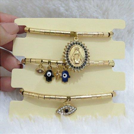 Conjunto de pulseiras, santa fé, 3 peças, olho grego, dourada - REF P077