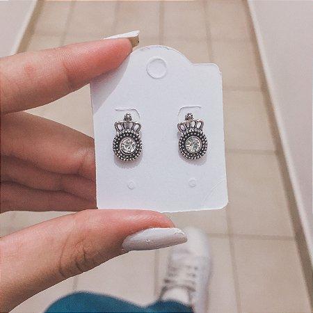 Brinco cute, queen brilho, new collection, prateado - REF B050