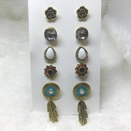 Kit de brincos, novo outono, dourado, azul royal - REF B058