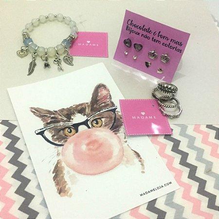KIT Madame - Life - 1 pulseira + 1 kit de brincos + 1 kit de anéis + printable grátis - REF P153