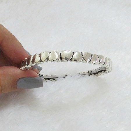 Pulseira bracelete, corázon, prateada - REF P167