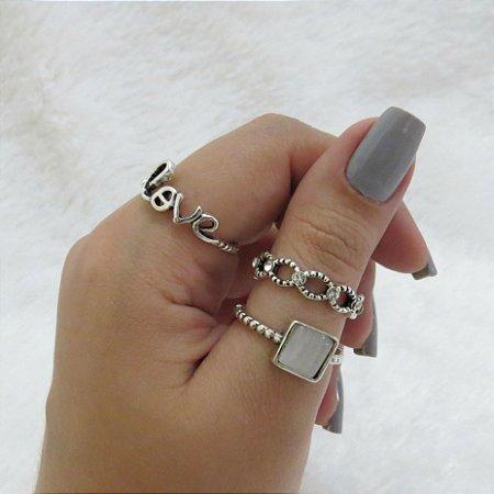 Conjunto de anéis com 3 peças, love, prateado - REF: K023