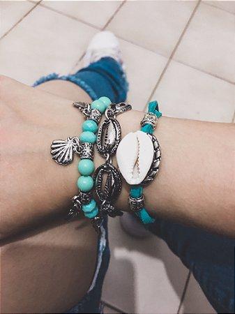 _Conjunto de pulseiras, 3 peças, mermaid, acqua - REF P414