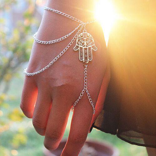 Pulseira de mão com anel, mão de fátima - REF P087