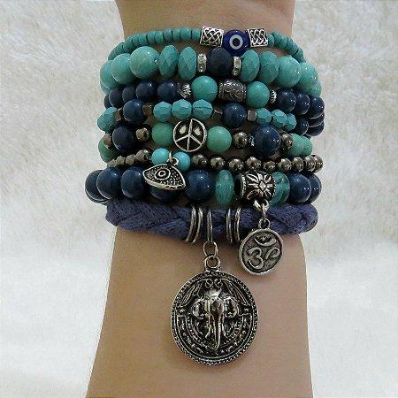 Conjunto de pulseiras tijuana, 8 peças, prateado envelhecido - REF P090