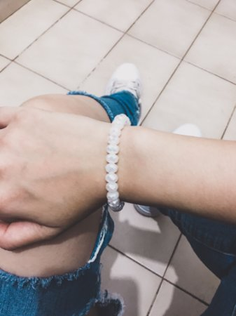 Pulseira crystal, bold, off white - REF P436