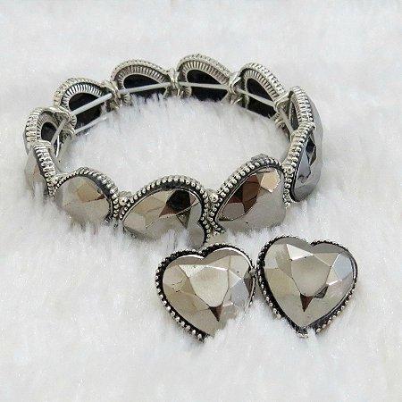 Pulseira bracelete love key prateada, acompanha brinco grátis - REF P196