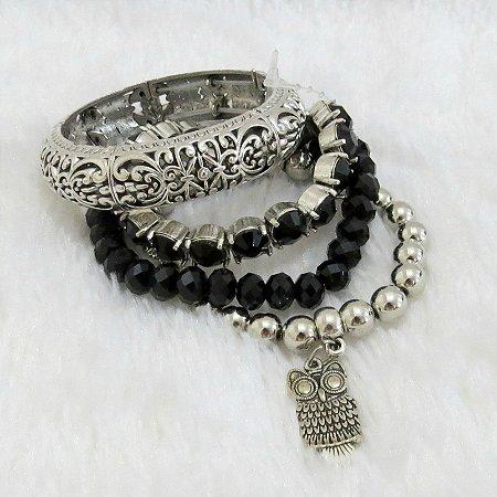 Conjunto de pulseiras freedom, 4 peças, coruja - REF P197