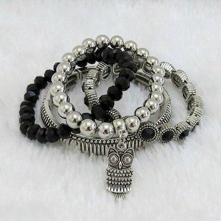 Conjunto de pulseiras freedom, 4 peças, coruja - REF P199