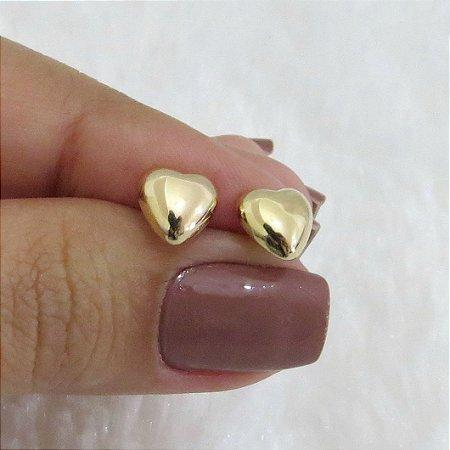 Brinco New Collection , coração dourado pequeno - REF B225