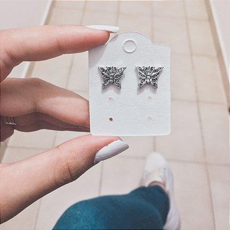 Brinco dalli, borboleta, prateado envelhecido - REF B235
