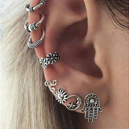 Kit de piercings, hamsã, 8 peças, prateado - REF B246
