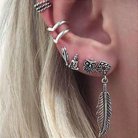 Kit de piercings, hamsã, 6 peças, prateado - REF B247