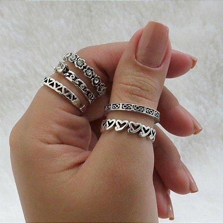 Conjunto de anéis, 5 peças, delicate, prateado - REF K035