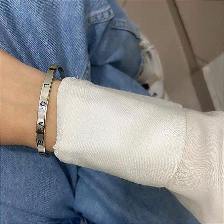 Pulseira bracelete bohemia, love, bold, prateado - REF P487
