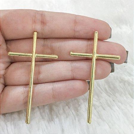 Brinco New Collection, cruz, dourado - REF  B277