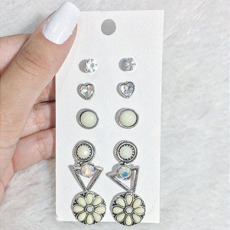Kit 6 pares de brincos, hello hello, mármore -  REF B276