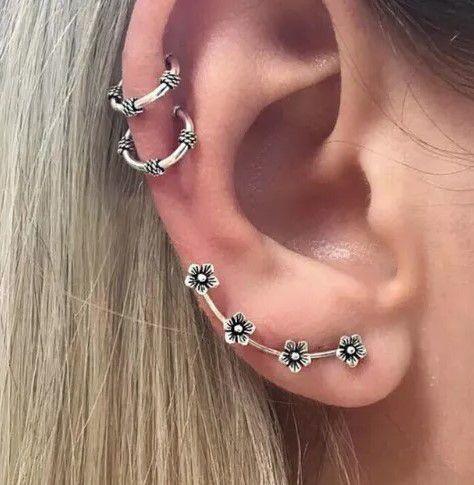 Kit de piercings, bohemia, prana, 3 peças, prateado -  REF B278