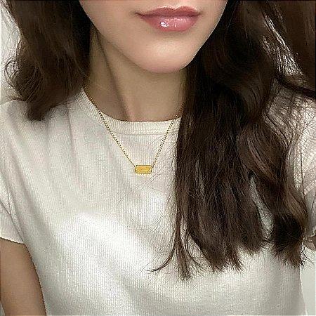 Colar doha, curto, line, bold, dourado