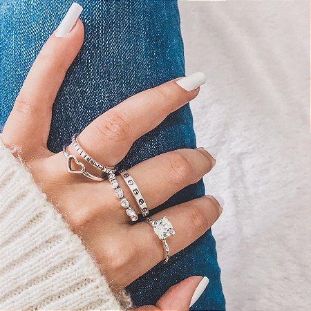 Conjunto de anéis com 5 peças, blessed, prateado envelhecido - REF K039