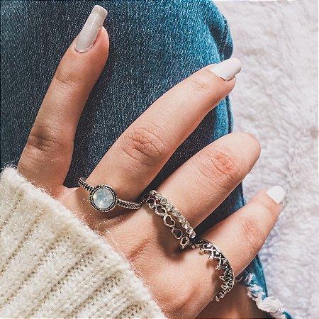 Conjunto de anéis com 4 peças, puro charme, prateado - REF K040